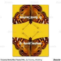 Country Butterflies Tented Wedding Place Cards Table Cards