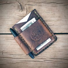 Brown Leather Space Pen Wallet Fisher by MonolithLeatherGoods