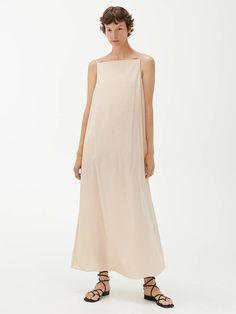 Cotton Voile Slip Dress - Beige - Dresses - ARKET GB Intelligent Agent, Dna Project, H&m Group, Beige Dresses, Silhouette, Elegant, Ankle Length, Bodice, Neckline