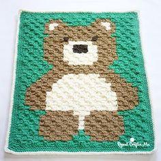 This will be your new go-to baby blanket pattern! The Bernat Blanket Bear is on the blog! @yarnspirations #bernatblanketyarn #teddybear #c2c #bearblanket #crochetbear #babyblanket #babygift