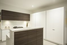 polytec overhead cupboards and island bench panels in Cafe Oak Ravine