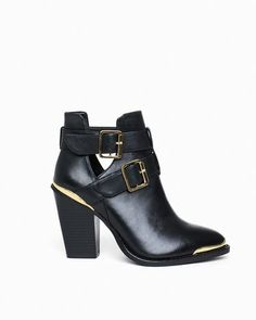 Great transitional bootie. Cut-out with gold trimmings