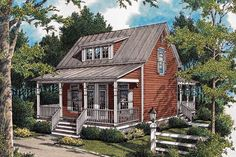 Plan Compact Energy-Saving Design This extremely compact design has a surprising amount of Small Cabin Plans, Cabin House Plans, Cabin Floor Plans, Craftsman Style House Plans, Small Cottage Homes, Cottage House Plans, Country House Plans, Country Living, Tiny House Village