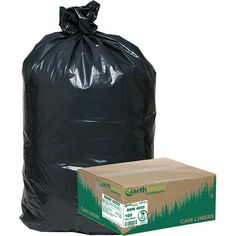 Earthsense Recycled Star Bottom Trash Bags 33 gal Black 100ct WBI RNW4050