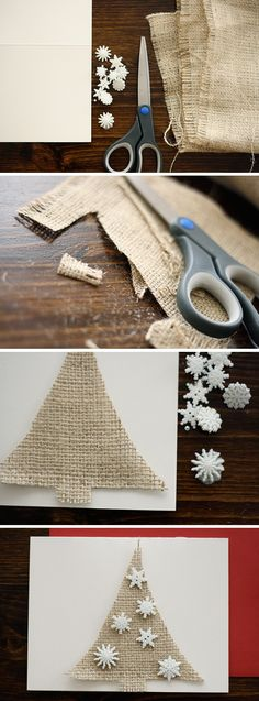 DIY Christmas Cards   Ashlee Proffitt. Loving the snowflake buttons. Need to find those.