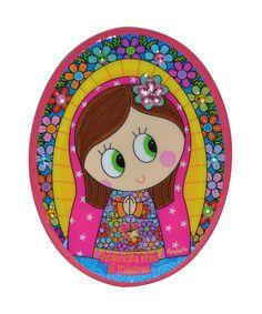 Bolo Iman Oval Virgen Rosa Material: Ceramica Peso: 0.056 Medidas: 8 x7 x 0.5 Accesorio Decorativo . Producto de Distroller.