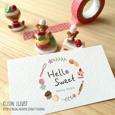 #로고디자인 #일러스트로고 #명함 #명함디자인 #손글씨로고 #로고제작 #명함제작 #찐일러스트 #마카롱일러스트 #일러스타그램 #스티커제작 #예쁜로고 #예쁜명함 #베이킹일러스트 #illust #illustration #namecard #painting Business Card Design, Business Cards, Name Cards, App Icon, Diy Cards, Place Card Holders, Layout, Branding, Symbols