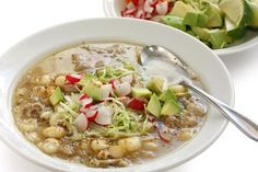 White Pozole Mexican Soup Cuisine Stock Photo (Edit Now) 90963854 Raw Food Recipes, Mexican Food Recipes, Soup Recipes, Cooking Recipes, Mexican Desserts, Freezer Recipes, Freezer Cooking, Drink Recipes, Cooking Tips