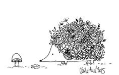 herisson, Cécile Hudrisier Hedgehog Drawing, Hedgehog Art, Cute Illustration, Watercolor Illustration, Buch Design, Small Canvas Art, Cecile, Colouring Pages, Illustrations