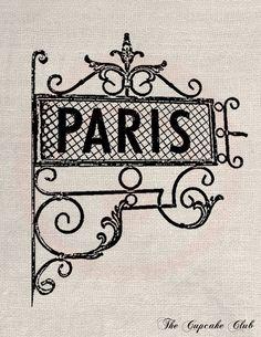 Clip Art diseños Transfer Shabby Chic Paris
