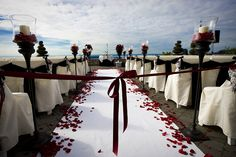 A beautiful outdoor wedding setup with red ribbon under a cloudy blue s , wedding setup Wedding stock image. Image of ceremony, petals, aisle - 18791069 wedding setup Wedding Aisles, Wedding Set Up, Plan Your Wedding, Wedding Bells, Wedding Bride, Dream Wedding, Wedding Ideas, Bride Groom, Wedding Events