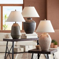 Casual inspired table lamps with terracotta finishes from dark to gray to blush color. Living Room Designs, Living Room Decor, Living Spaces, Bedroom Decor, Home Furnishing Accessories, Home Furnishings, White Rustic Bedroom, House Furniture Design, Lamp Makeover