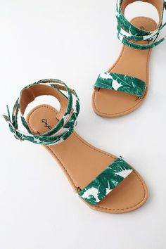 Anywhere you trek, the Seaview Green and White Tropical Print Ankle Strap Flat Sandals are always a good choice! Fun, green and white tropical leaf print forms a wide toe band, and a network of Women's Shoes, Shoes Flats Sandals, Ankle Strap Flats, Cute Sandals, Ankle Straps, Flat Sandals, Cute Shoes, Me Too Shoes, Shoe Boots