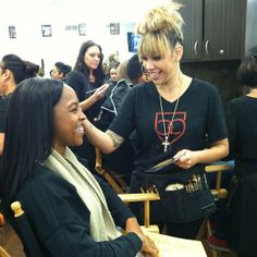 A behind-the-scenes shot of the America's Next Top Model casting call at Bellus Academy National City #makeup #beauty