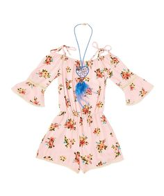 Take a look at this Pink Floral Romper & Dream Catcher Necklace - Girls today!