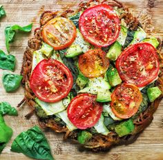 Spiralized Potato Crust Pizza With Pesto, Basil, Tomatoes, Shaved Zucchini & Avocado — Kale Me Maybe