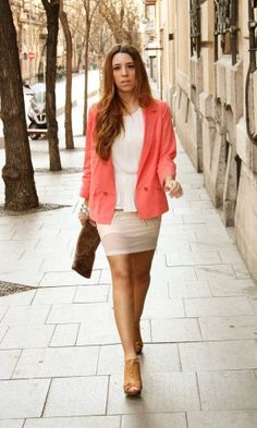 Coral and nude  #fashion #style #outfit  #look
