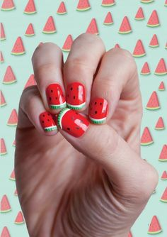 watermelon nails  [summer toenail idea]