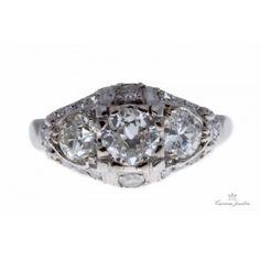 Estate 1950's Platinum Diamond Engagement Ring