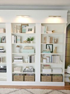 light and bright bookshelf styling at Bliss at Home
