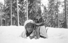 Finnish soldier during a training exercise at the military school in Hämeenlinna, Finland, February 1941