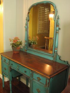 ~  SOLD ~  Pretty antique vanity with mirror painted in the ever so popular, striking turquoise teal.  Chippy distressed finish with a glaze...
