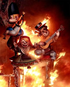 Las Fallas Fire Festival in Valencia, Spain marks the onset of spring and dates back to the pre-Christian era.