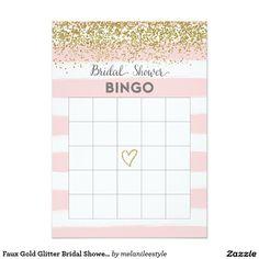 Faux Gold Glitter Bridal Shower Bingo Card