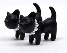 Black and White Kitty Earrings