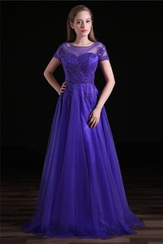 A Line Bateau Neckline Long Purple Tulle Beaded Prom Dress With Sleeves