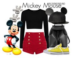 """""""Mickey Mouse"""" by leslieakay ❤ liked on Polyvore featuring Le Parmentier, Disney, Pierre Balmain, Converse, disney, disneybound and disneycharacter"""