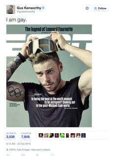 "Olympic Skier and Puppy-Lover Gus Kenworthy Comes Out on the Cover of ESPN: Olympic skier Gus Kenworthy marked a monumental moment in LGBT history this week when he came out on the cover of ESPN's ""Being Out"" issue."