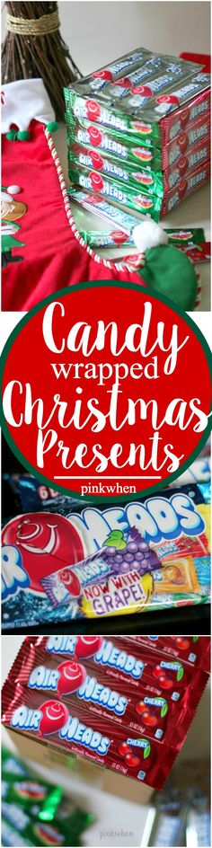 Try something new this year with these Candy Wrapped Christmas Presents! #Airheadscrafts @Airheadscandy {ad} A perfect addition to a stocking!