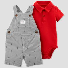 470c7388e Baby Boys' 2pc Stripe Anchors Shortall Set - Just One You made by carter's  Red/Gray Newborn, Blue