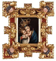 Anónimo, Virgen del Refugio, óleo sobre tela, marco de época en madera tallada, policromada y dorada,  25 x 20 cm., con  marco: 50,5 x 45 cm., ca. 1700-50, colección particular, catalogación: Juan Carlos Cancino.