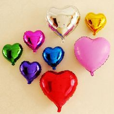 "10Pcs/Set 18"" Heart Shaped Aluminum Film Balloons For Wedding Party Decoration"
