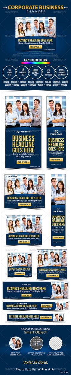 Buy Corporate Banner Set by Hyov on GraphicRiver. Promote your Products and services with this great looking Banner Set. 16 awesome quality banner template PSD files r. Google Banner, Website Promotion, Ecommerce Logo, Google Ads, Corporate Business, Logo Images, Banner Template, Flat Design, Banner Design