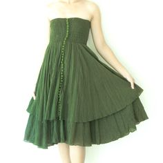 Strapless+Ruffle+Dress+or+Maxi+Skirt+in+Dark+Green+by+oOlives,+$42.00