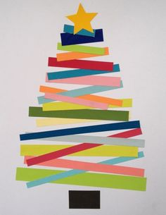 Cute Christmas tree craft for young kids - pre-cut the shapes for them, then have them glue to make the tree. Simple Christmas Crafts, Christmas Tree For Toddlers, Christmas Card Ideas With Kids, Christmas Cards For Children, Christmas Collage, Christmas Classroom Door Decorations, Easy Christmas Cards, Christmas Crafts For Kindergarteners, Christmas Tree Paper Craft
