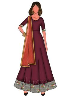 Buy Pomegranate Maroon Taffeta Anarakali With Contrast Dupatta Set online, SKU Code: SLBS1803991. This Green  color After Six anarkali suit for Women comes with Sequins  Net . Shop Now!