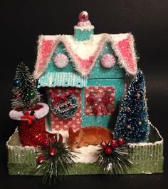 GLITTER House~VINTAGE Christmas~Lighted House~CHRISTMAS Village~Putz House~Bottlebrush Tree~Flocked Deer~Santa Boot~The Pokey Poodle by ThePokeyPoodle on Etsy