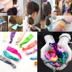 30*Girl Hair Ties Knotted Rubber Hairband No Crease Ponytail Scrunchie Holder Ff