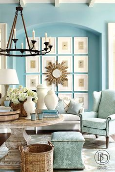 Beautiful and bright robin's egg blue living room. Love the color of the wall...for the bedroom perhaps.