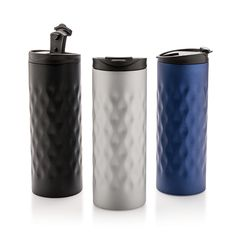 Stainless steel double wall tumbler. With trendy geometric cut design.