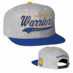 Golden State Warriors Mitchell & Ness Hardwood Classic Tailsweeper Melton Strapback - Heather Grey