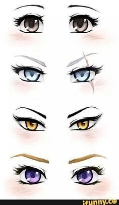 RWBY eyes. Ruby (silver,) Weiss (blue,) Blake (amber,) and Yang (violet.)