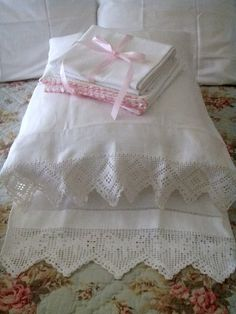 Pillowcases with filet crochet lace