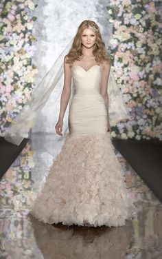 Silk Organza strapless wedding gown with tightly woven tissue-soft rosettes from Martina Liana (Style 442)
