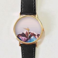 Montre pour femme : Geometric Mountain Watch Men's Watch Women Watches Leather Watch Vintage Style Unique Jewelry Handmade Rose Gold Boyfriend Watch Gift Spring Jewelry Shop, Jewelry Accessories, Handmade Jewelry, Women Jewelry, Unique Jewelry, Vintage Jewelry, Copper Jewelry, Fine Jewelry, Cheap Jewelry