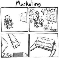 marketing ironic description with comics